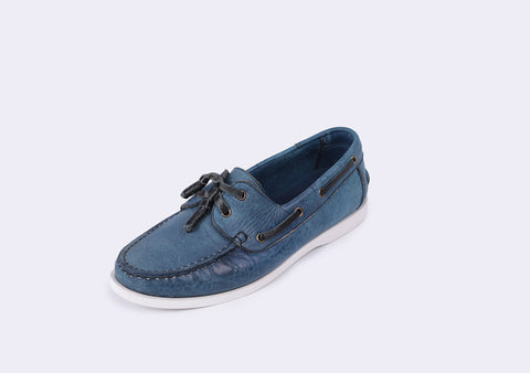 Indigo boat shoes