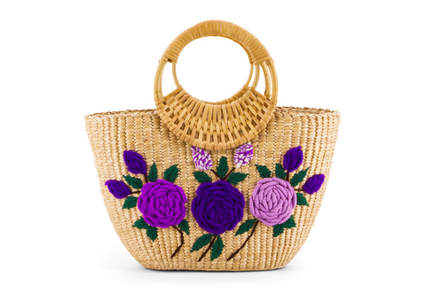 Straw Handbag Pattern Flower