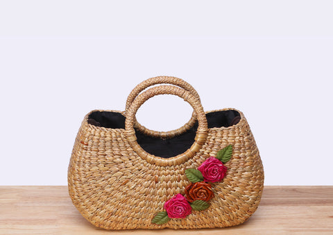 MALA Flower Straw Tote Bag
