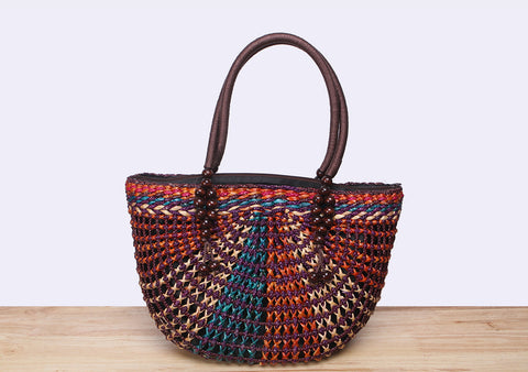 Half Moon Straw Tote Bag