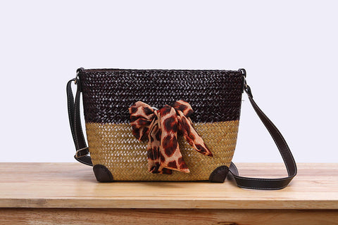 Woven Seagrass pouch bag with ribbon (two tones)