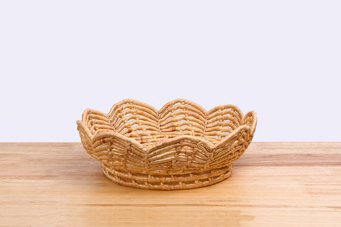 Natural straw wicker basket