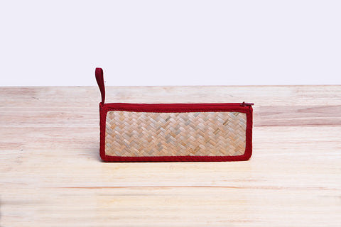 Nattira - Reed Woven Pencil Bag (Red)