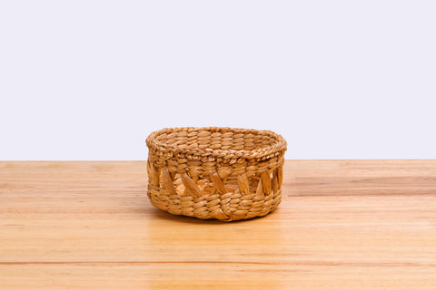Natural straw wicker mini container (short)