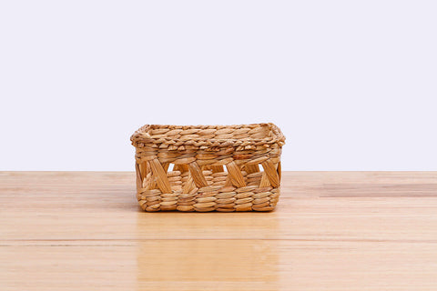 Natural straw wicker mini square container (short)