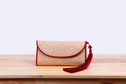 Nattira - Clutch Bag With Tassel (Red)