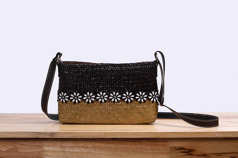 Woven Seagrass pouch bag with flower (two tones)