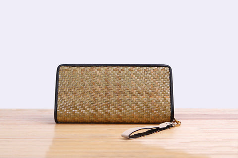 Woven Seagrass wallet (long light brown)