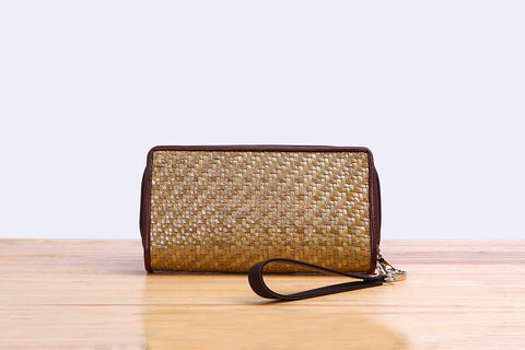 Woven Seagrass wallet (long dark brown)