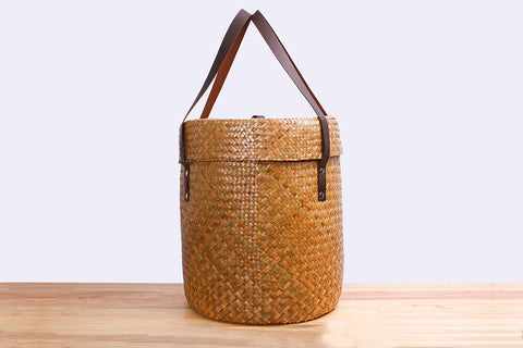 Woven sedge basket with lid