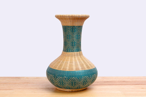 Moot Jak Sarn - Bamboo wicker vase ceramic (Green)