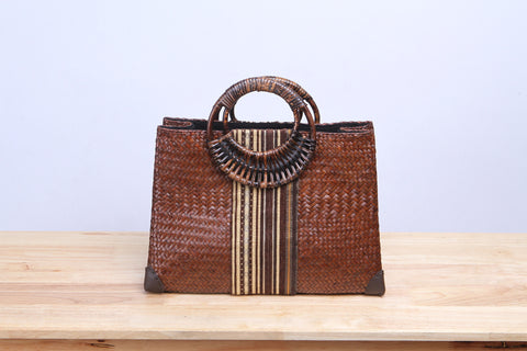 Brown Seagrass Tote Bag