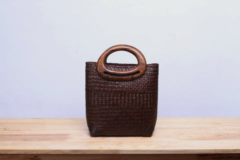 Brown Seagrass Tote Bag (Dark Brown)