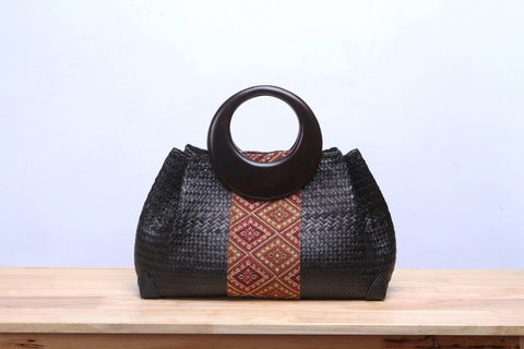 Black Seagrass woven Tote Bag