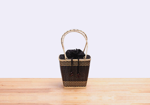 Mini Bamboo Wicker Bucket Handbag (Black)