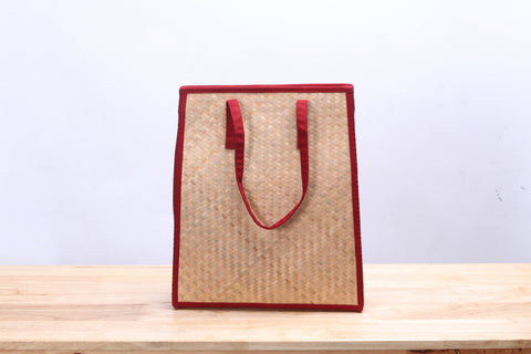 Nattira - Reed Handwoven Tote Bag (Red)
