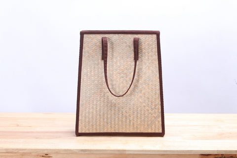 Nattira - Reed Woven Tote Bag (Brown)