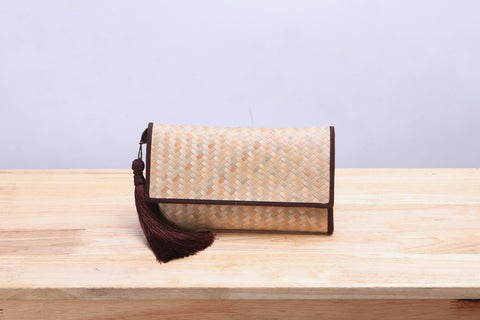 Nattira - Handwoven Clutch Bag with Tassel (Brown)