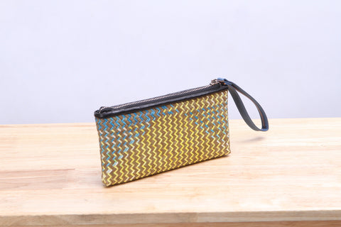 Varni - Seagrass Wicker Wallet (Yellow Blue)