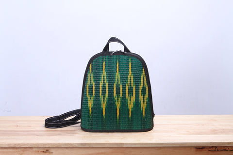 Mini Sedge Wicker Backpack (Green)