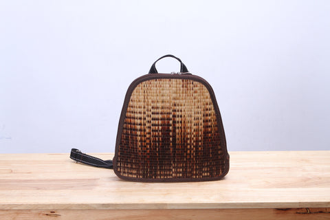 Mini Sedge Wicker Backpack (Brown)
