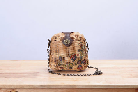 Mini Rattan Wicker Quilted Bag