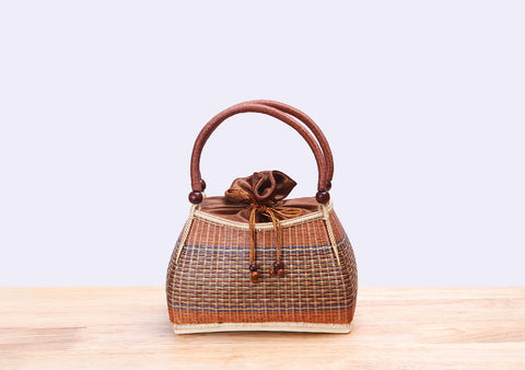 Mini Bamboo Wicker Handbag (Brown)