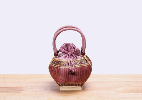 Mini Bamboo Wicker Pumpkin Handbag (Pink)