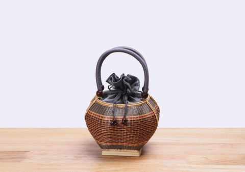 Mini Bamboo Wicker Round Handbag (Gray)