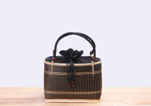 Mini Bamboo Wicker Square Handbag (Black)