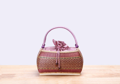Mini Bamboo wicker handbag (Pink)