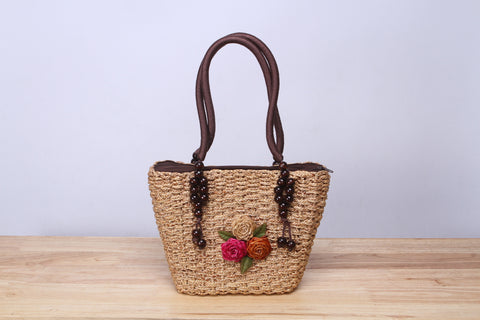 NATTIWA Flower Straw Tote Bag