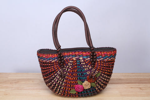 Half Moon Flower Straw Tote Bag