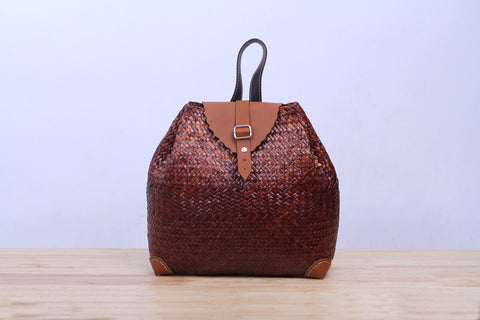 Seagrass Wicker Backpack (Brown)