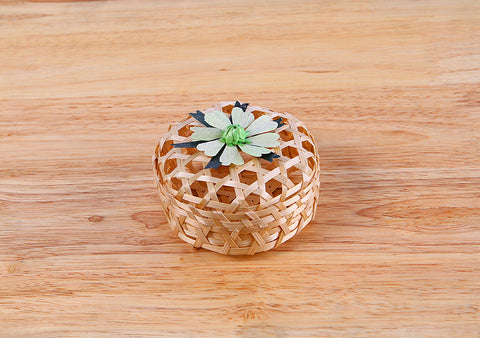 Green Flower Round Box