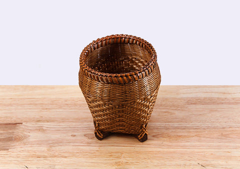 Brown Round Bamboo Basket