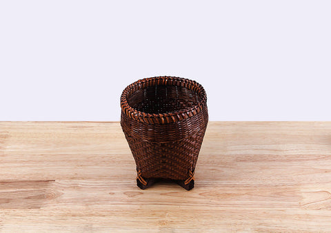Darkbrown Round Bamboo Basket