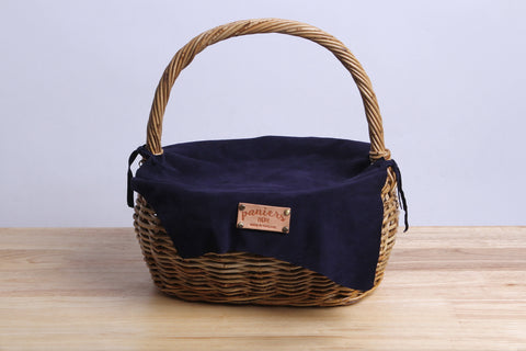 Paniers NEM - Rattan wicker basket with a lamb leather cover (Black)