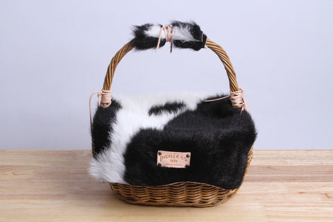 Paniers NEM - Rattan wicker basket with a lamb leather cover (cow)
