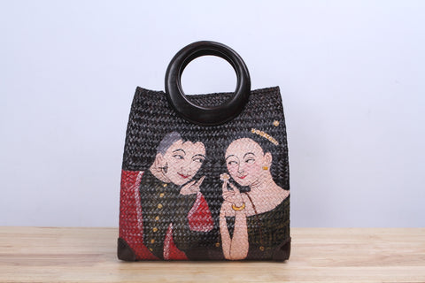 Shappybag - Seagrass wicker handbag (Thai design painting)