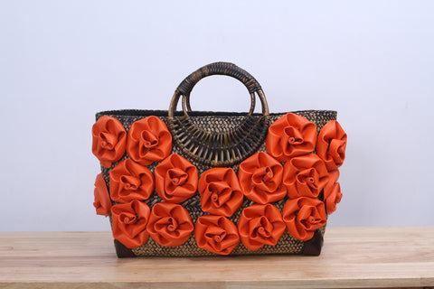 Shappybag - Orange rose Seagrass wicker handbag