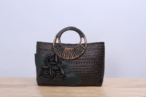 Shappybag - Seagrass wicker handbag with flower (Brown)