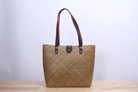 Tall Square Wicker Tote bag (Natural)