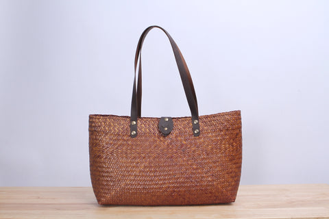 Tall Square Wicker Tote bag (Light Brown)