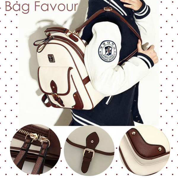 Cute Preppy Leather Women Backpack Singapore Daily Commuter Teens