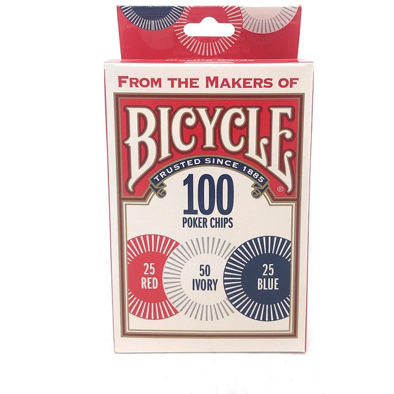 Bicycle 1006252 Casino Style Interlocking Easy Stack Poker Chips 100 Count Single Piece,