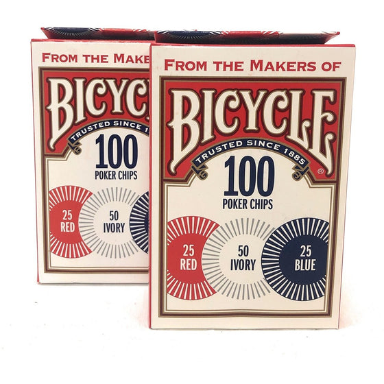 Bicycle 1006252 Casino Style Interlocking Easy Stack Poker Chips 100 Count 2 Pieces, 2-Pack,