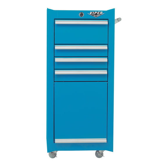 Viper Tool Storage V1804TLR 5-Drawer Steel Rolling Tool/Salon Cart, With Bulk Storage, Blue, Teal