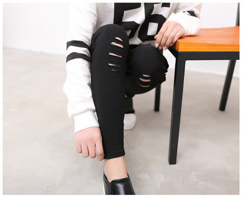 Cotton Elastic Imitate Jeans Woman Knee Skinny Pencil Pants Slim Rippe-iuly.com