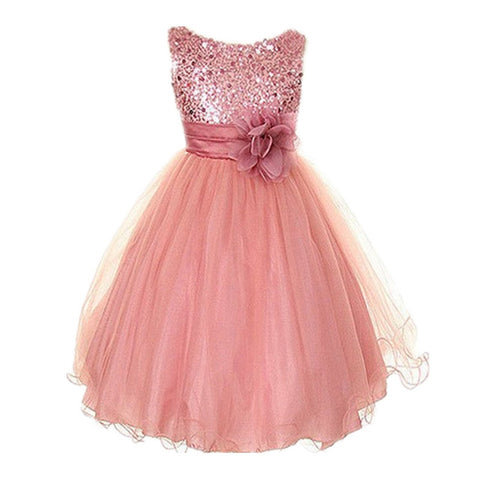 Princess Girl O-Neck Sleeveless Sequined Floral Ball Gown Party Dresses One-iuly.com